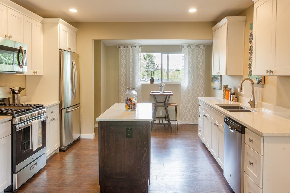 kitchen with narrow island