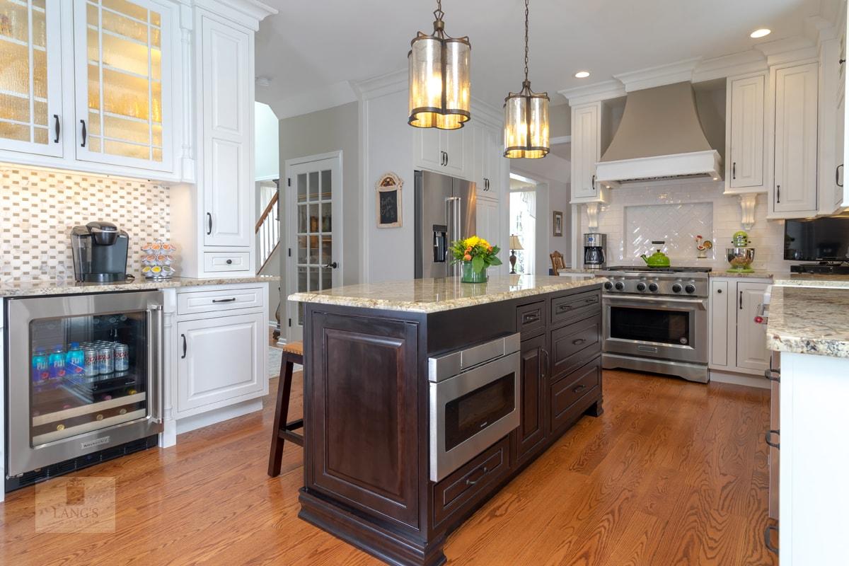 Kitchen design with dark finish island