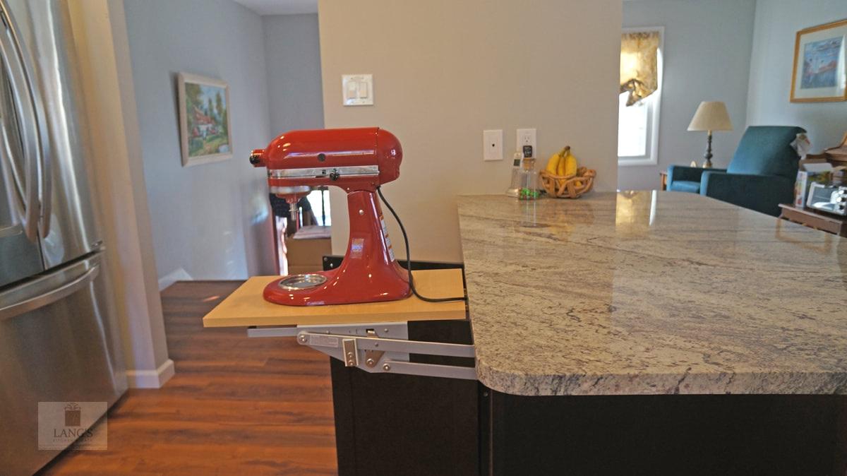 kitchen design with mixer lift storage