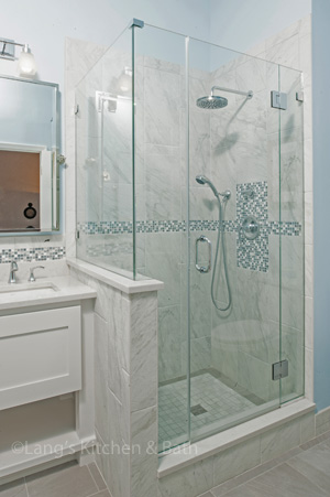 Shower with rainfall and handheld showerhead