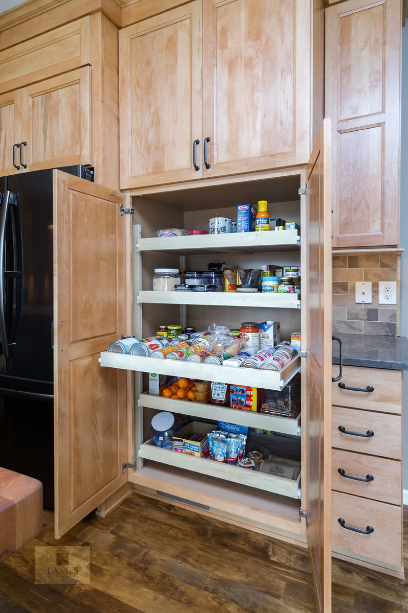Yardley kitchen design with pantry shelves