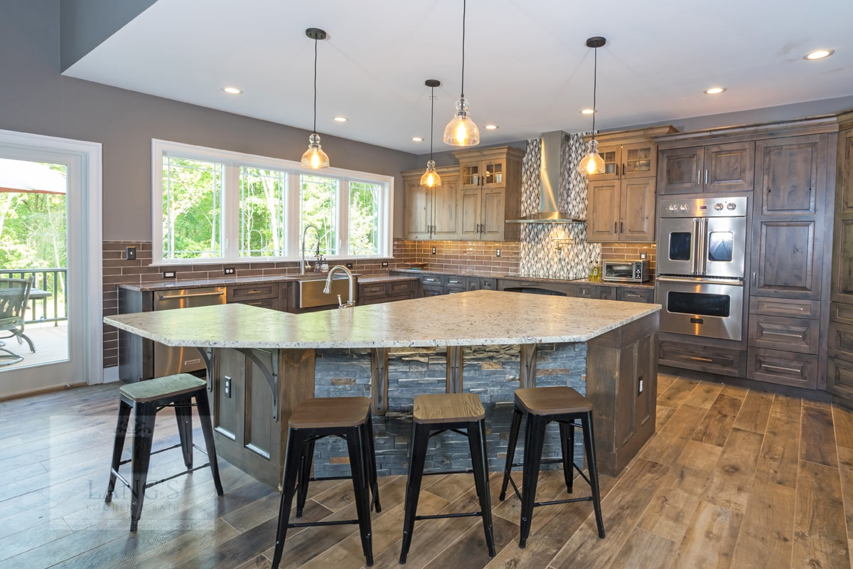 accessible kitchen island with barstools