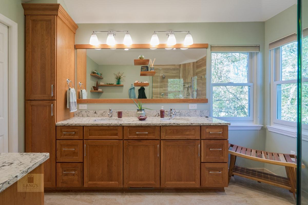 warm wood vanity cabinet
