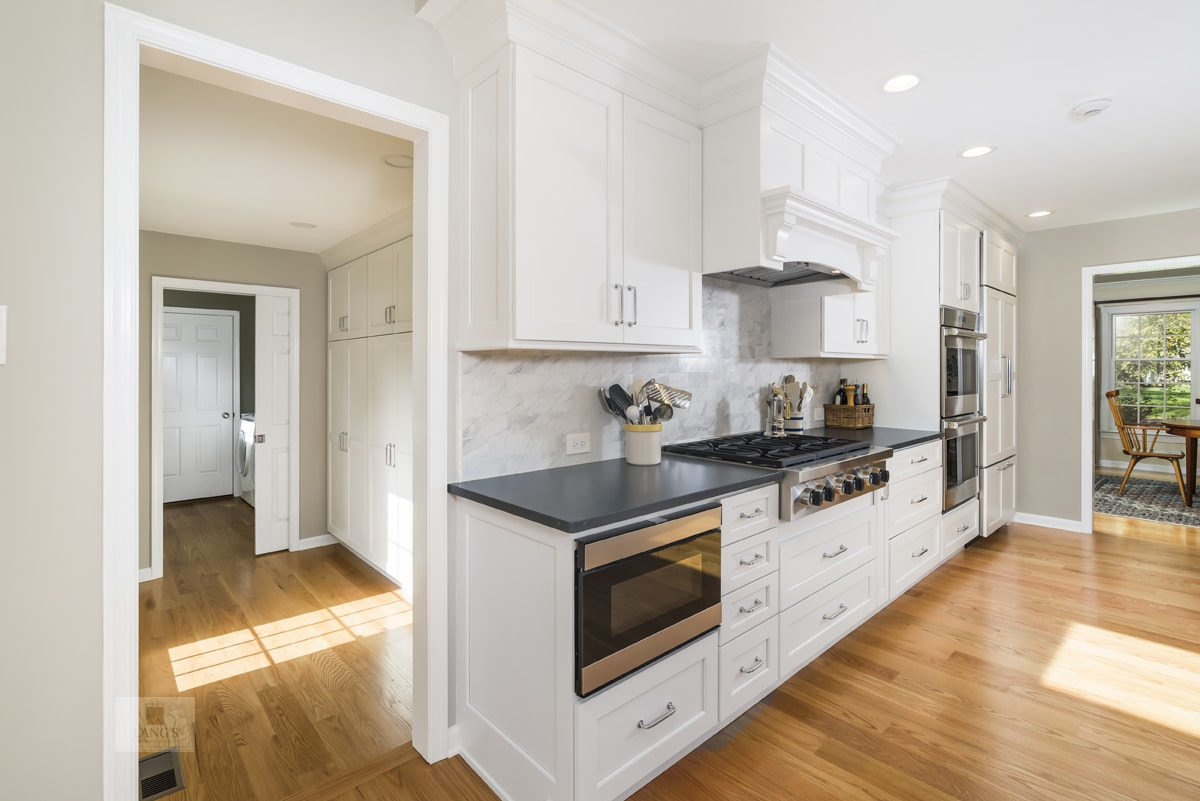 white galley style kitchen design