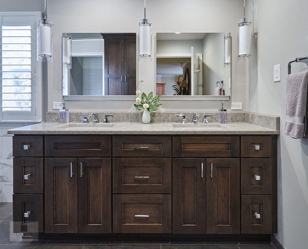 master bath design with two medicine cabinets