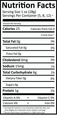 Nutritional values for our Original flavor