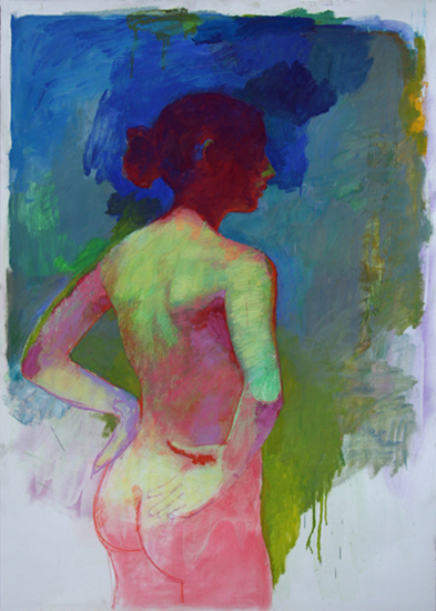 "Figure Study Pink and Blue  42"" x 30"""