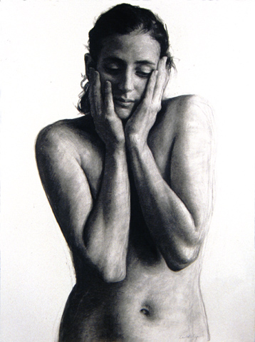 "Anne; Hands on Face  30"" x 22"""