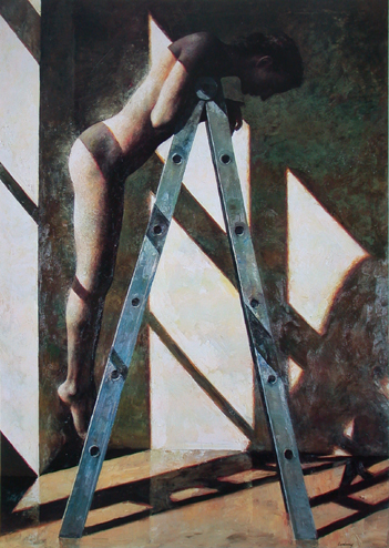 "Woman on Ladder  54"" x 70"""