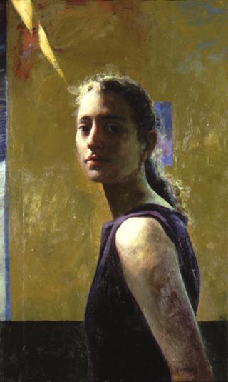 "Woman on Ochre Background  18"" x 30"""