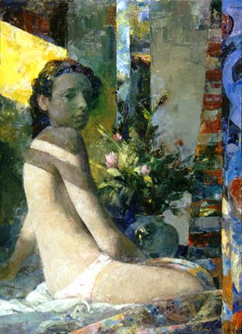 "Shadowed Figure, Yellow Light  26"" x 34"""