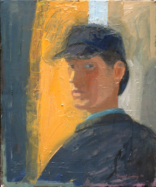 """Self Portrait: Blue Hat  20"""" x 24"""""""