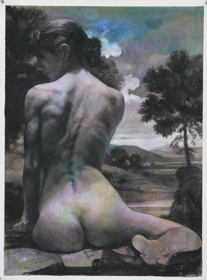 """""""Figure in Landscape""""  30"""" x 22"""""""