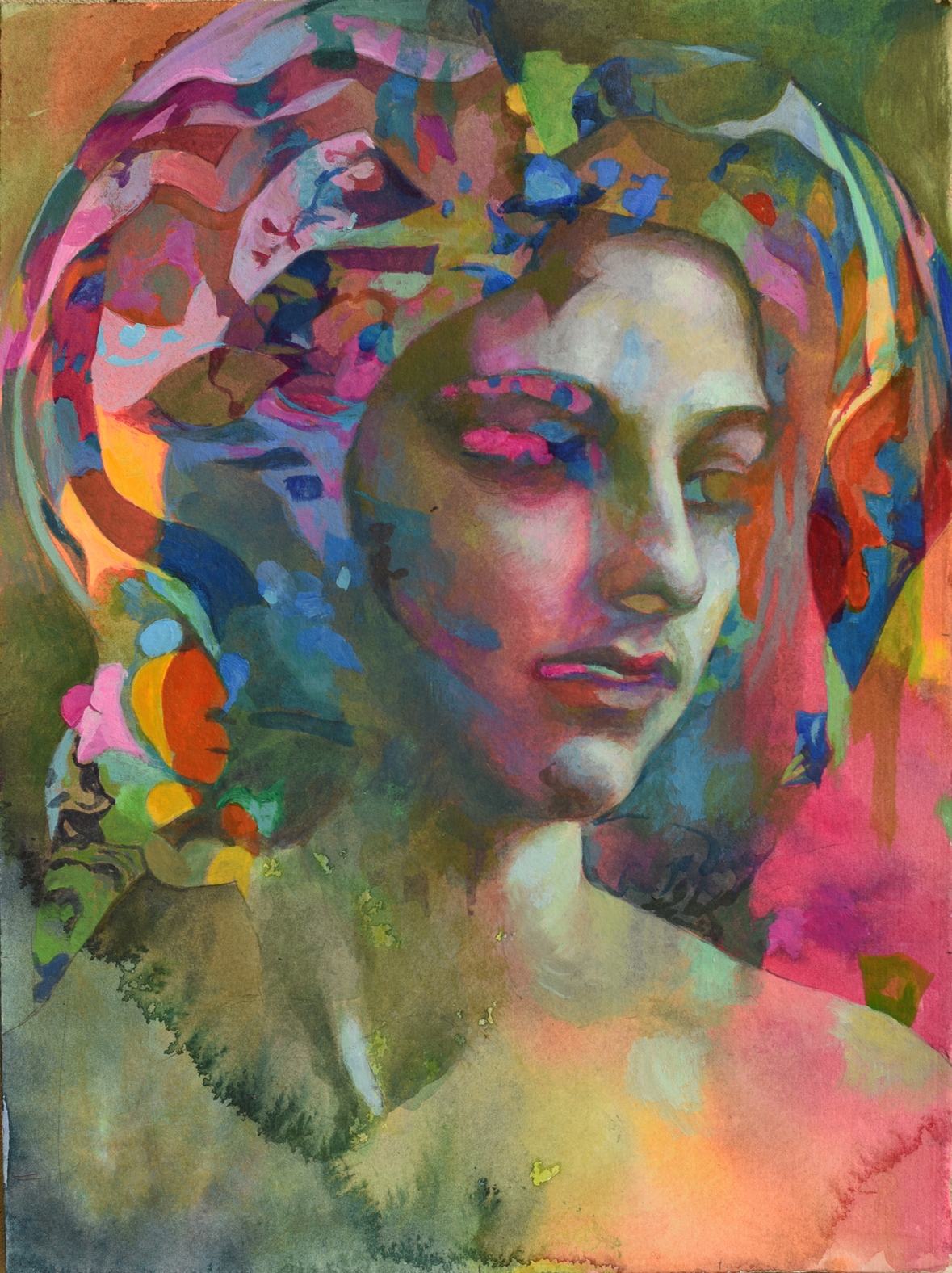 """Medusa"" 15"" x 11"" watercolor/acrylic on paper"