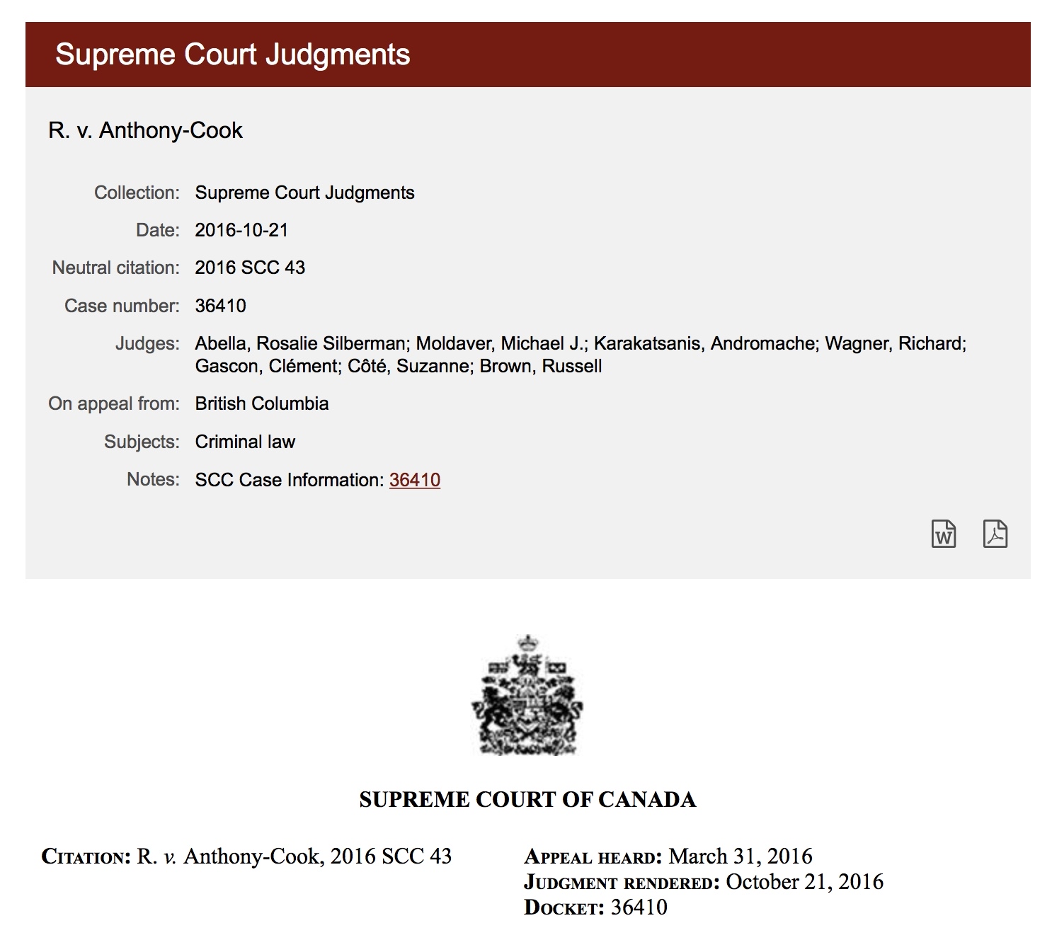 Michael Dyck Supreme Court of Canada