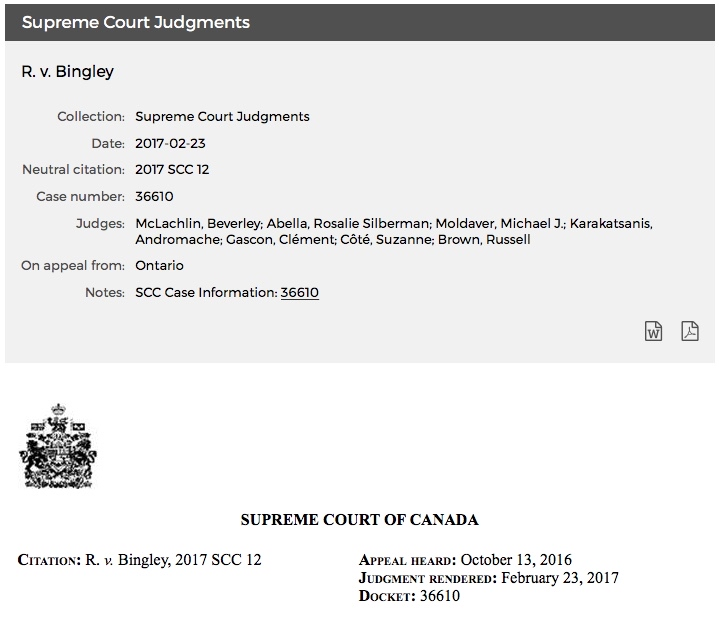 Michael Dyck R. v. Bingley Supreme Court of Canada