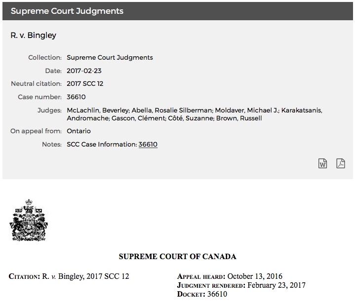 Michael Dyck R. v. Bingley Supreme Court of Canada