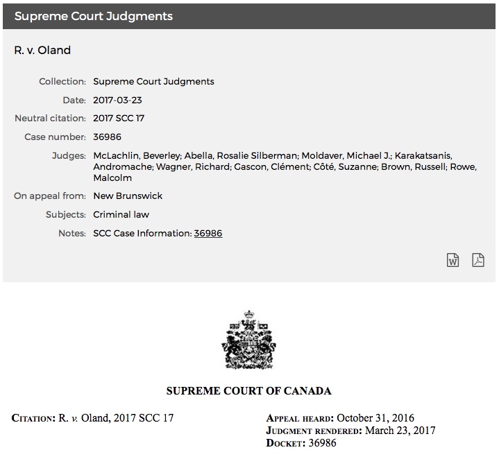 Michael Dyck R. v. Oland Supreme Court of Canada