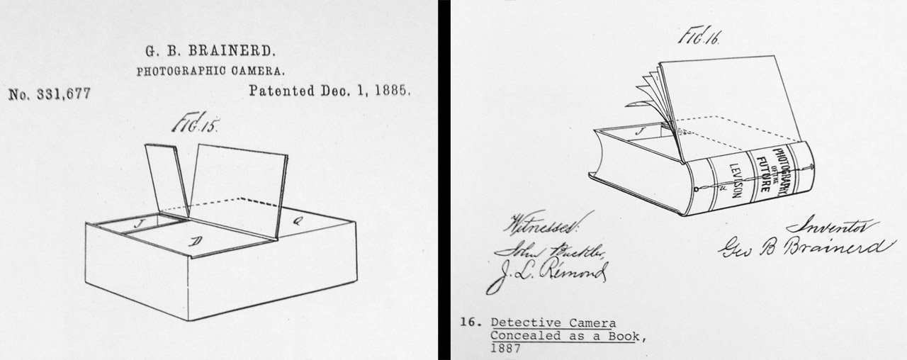 """Here are two of the remaining drawings showing Brainerd's creations, including a """"detective camera"""" that was disguised as a book. The name """"Levison"""" on the spine of the book was his friend and colleague, Wallace Goold Levison."""