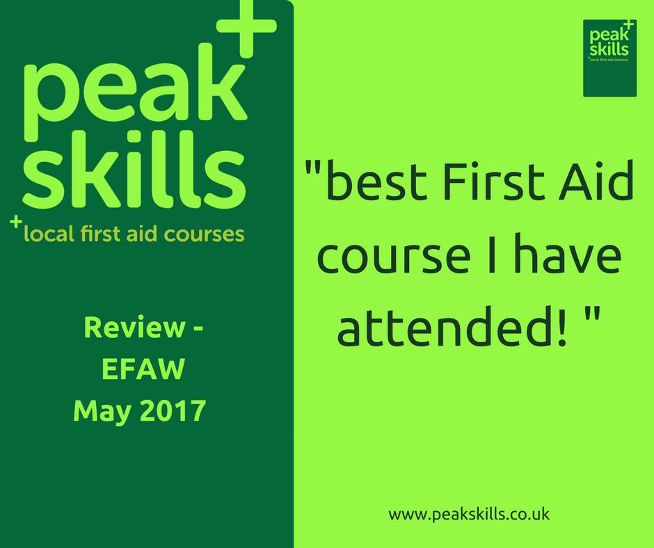 Peak Skills testimonial - First Aid courses Sevenoaks