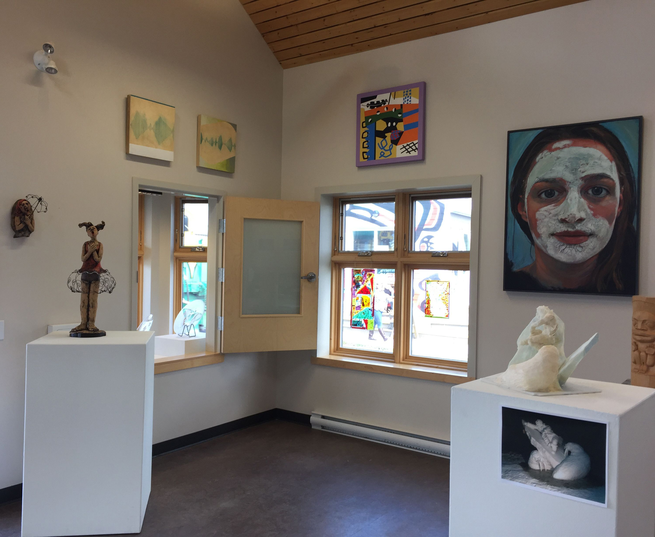 Left to right, works by Margreit Aasman, Barb Hinton (above) ,Keith Wolfe Smarch, Ken Thomas, Jeanine Baker, Suzanne Paleczny, Donald Watt (snow carving maquette) and Keith Wolfe Smarch.