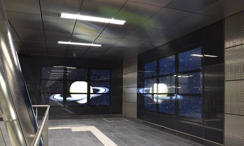 Thomas Stricker's space ship installation at Benrather Straße station. Photo: Thomas Stricker