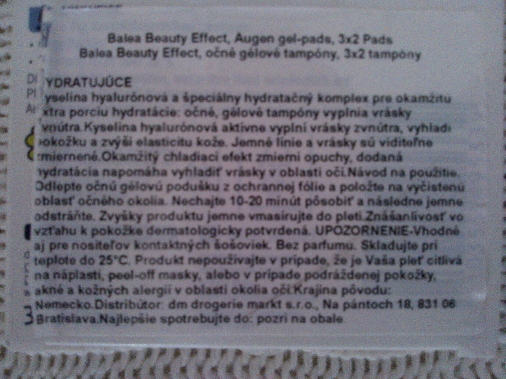 Popis gelových náplastí Balea, v balení sú 3 páry, gél obsahuje: