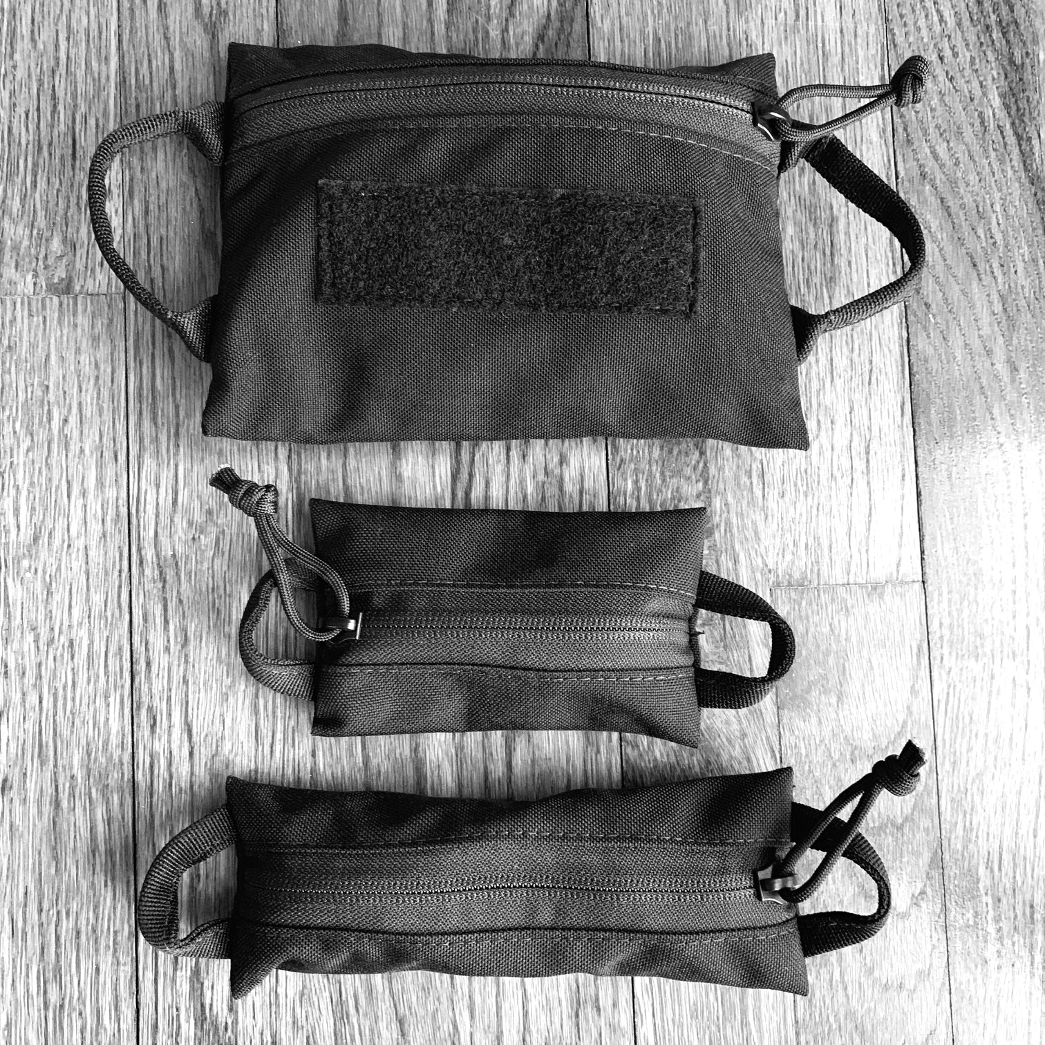The 3 pouches packing with my stuff.
