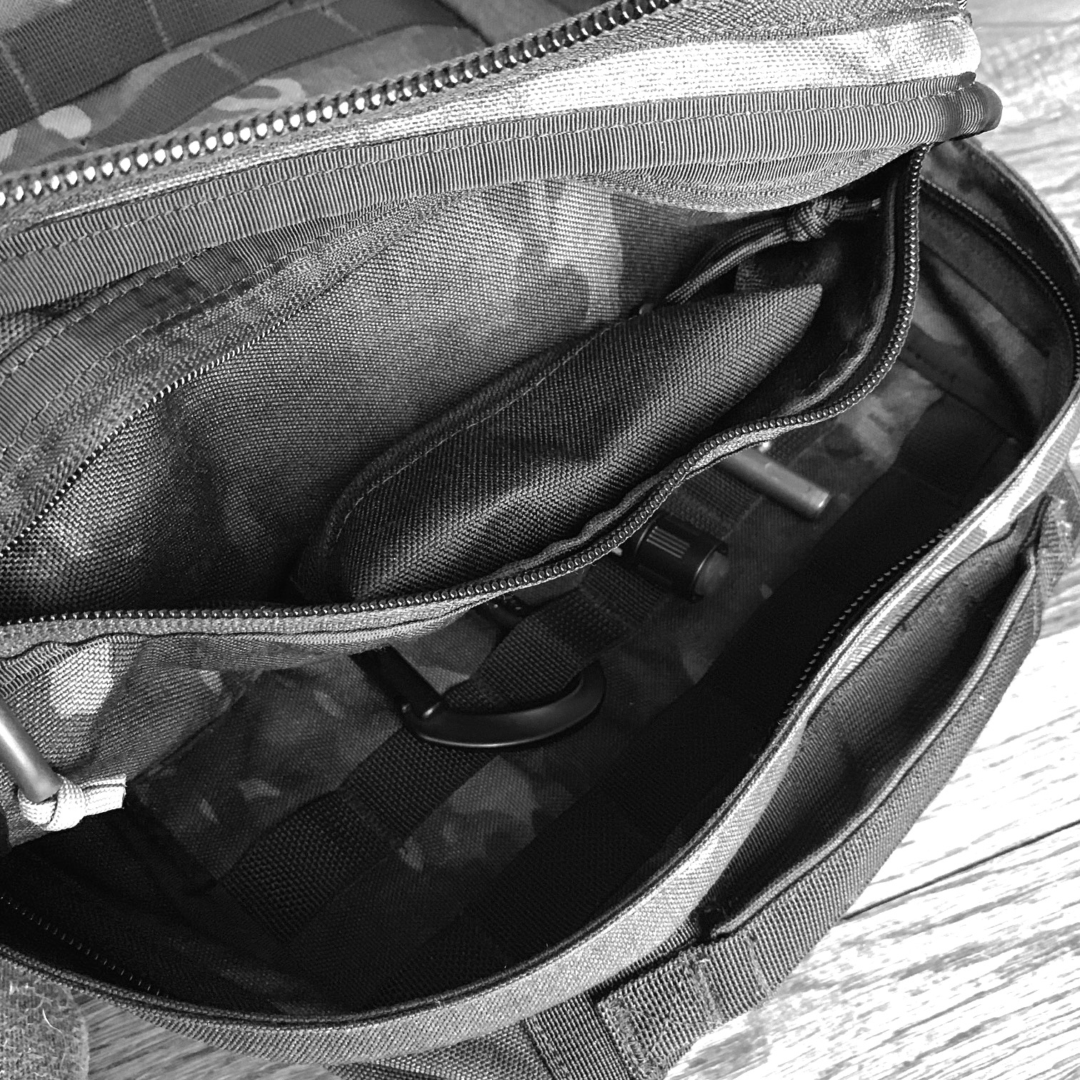 The Mini pouch on the top pocket of a GORUCK Echo