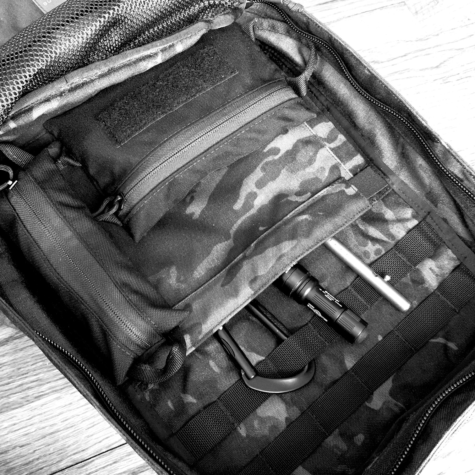 The Skinny and Standard pouches on the main compartment of the GORUCK Echo