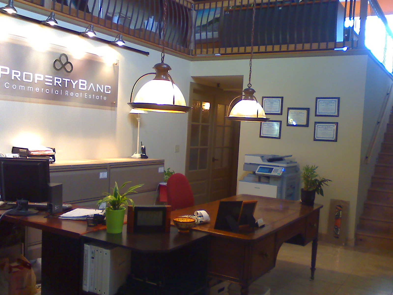 Office area with loft