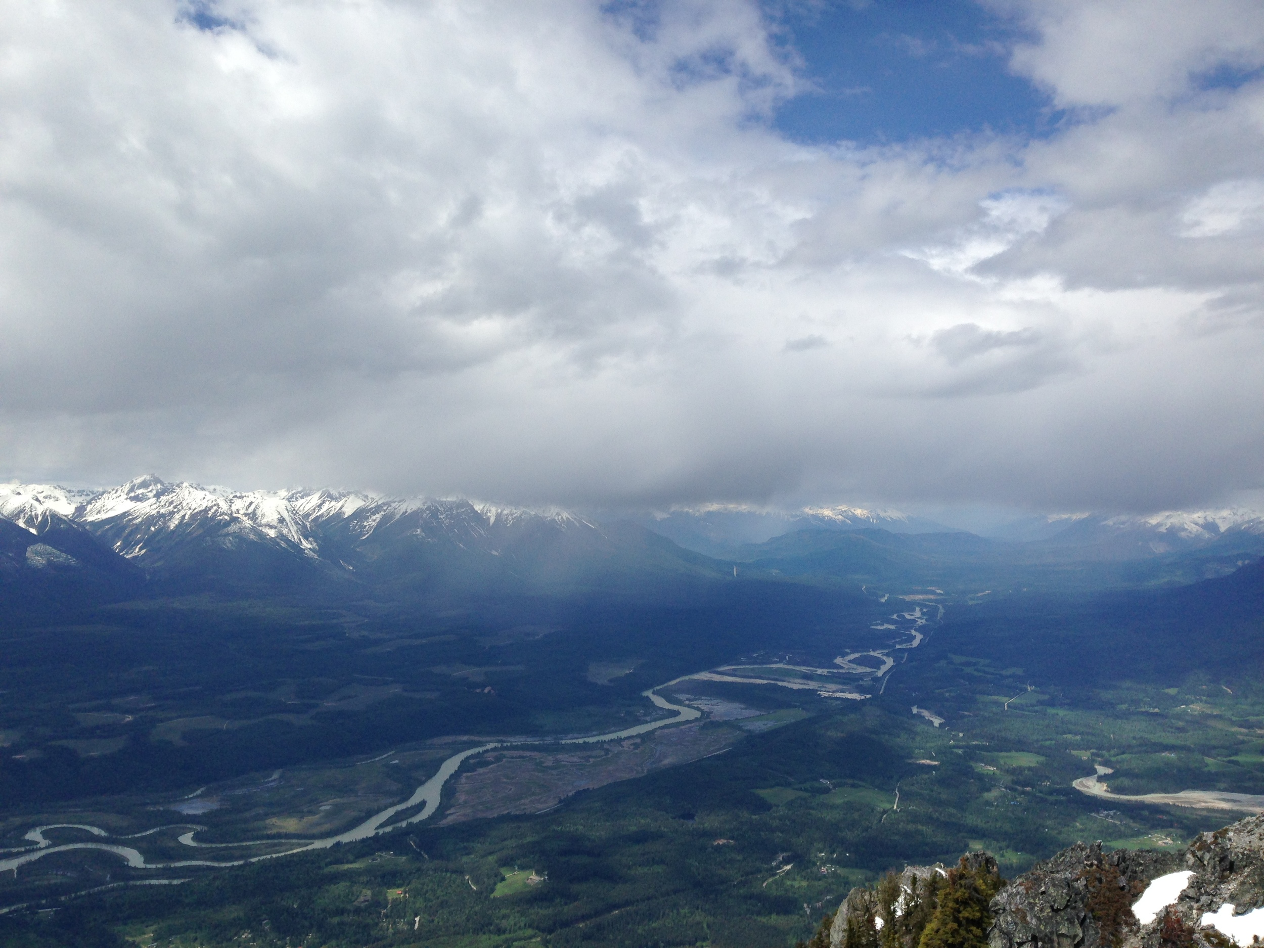 Golden and the Northern Columbia River Valley as seen from high a top Mt. Moberley.