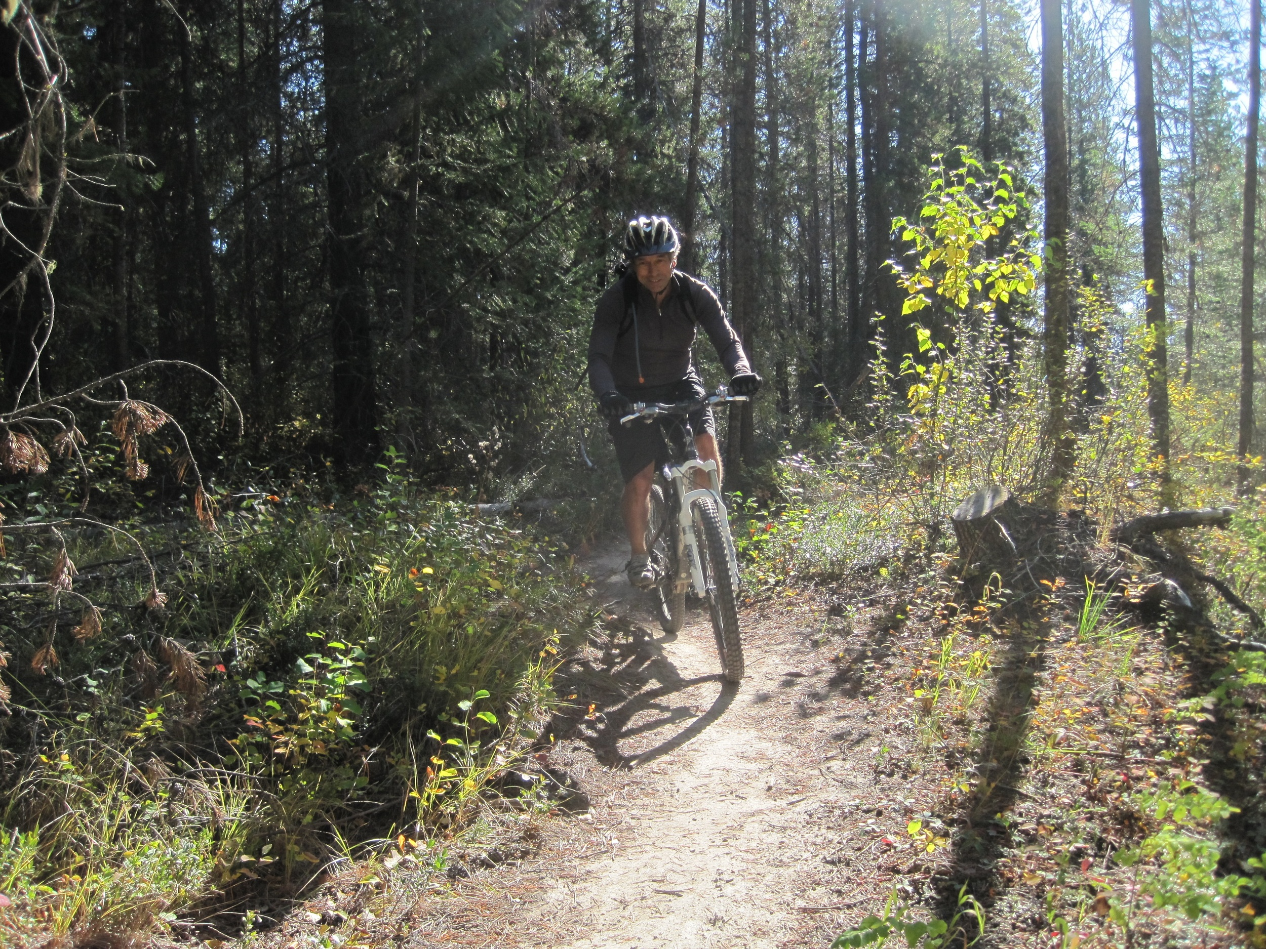 Rick enjoying the trails on his mountain bike.