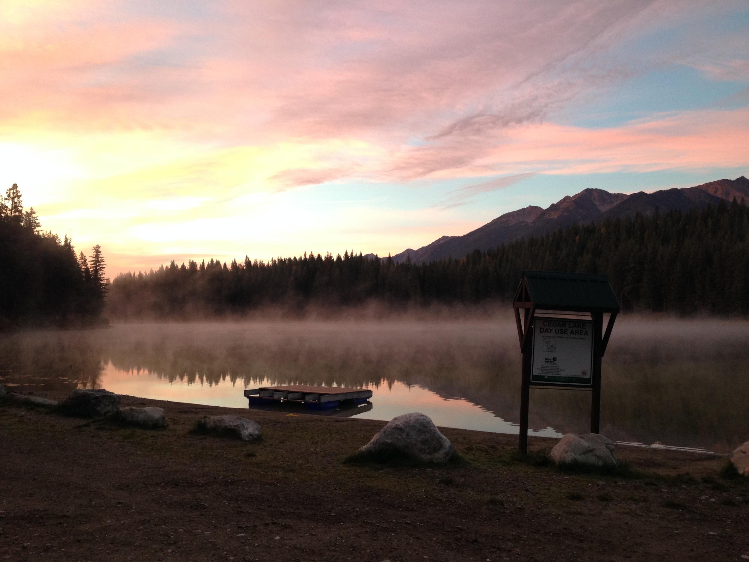 Cedar Lake at dawn, before our hot-hot Friday run.