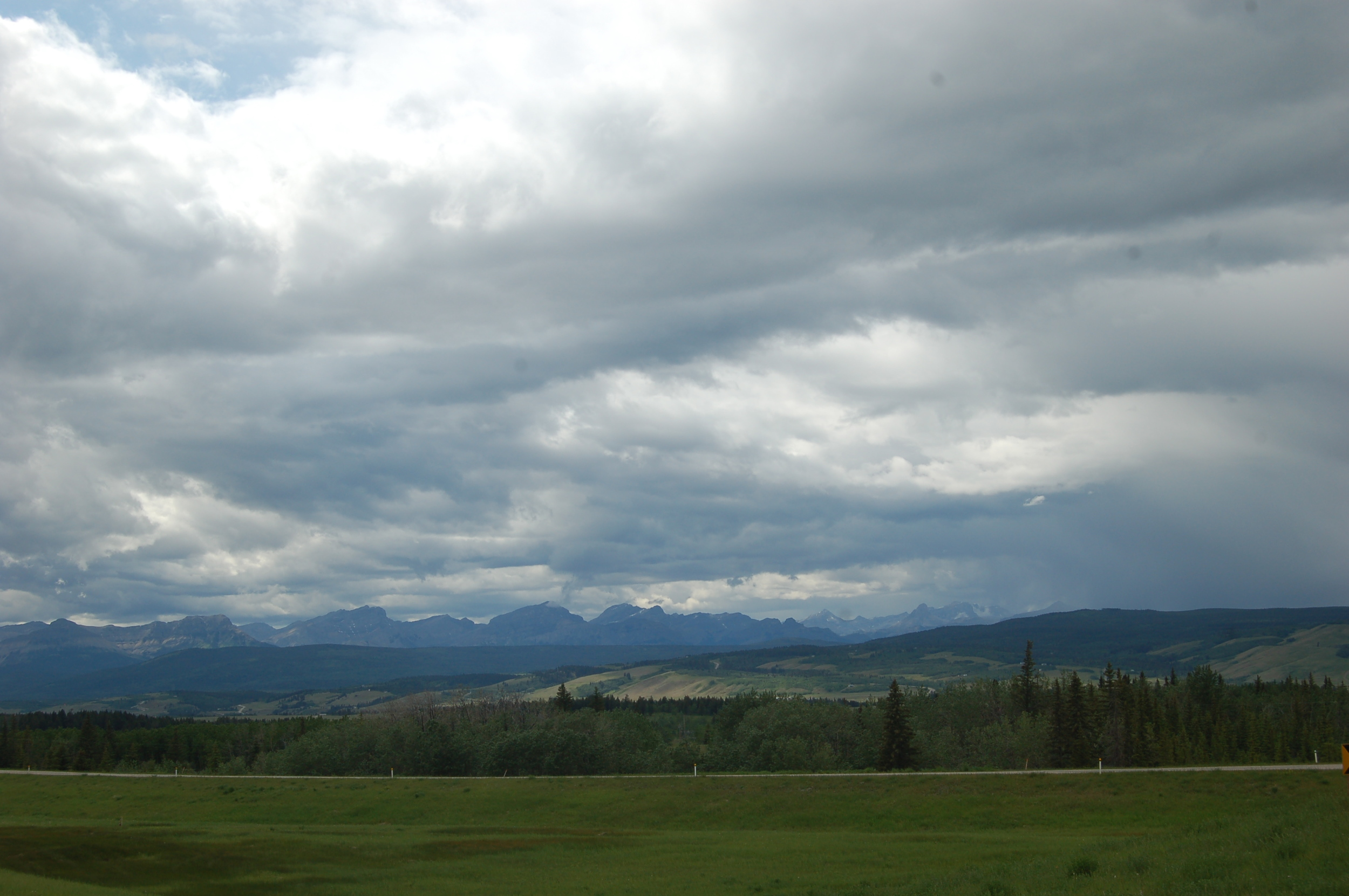 Views of the mountains from just west of Calgary.