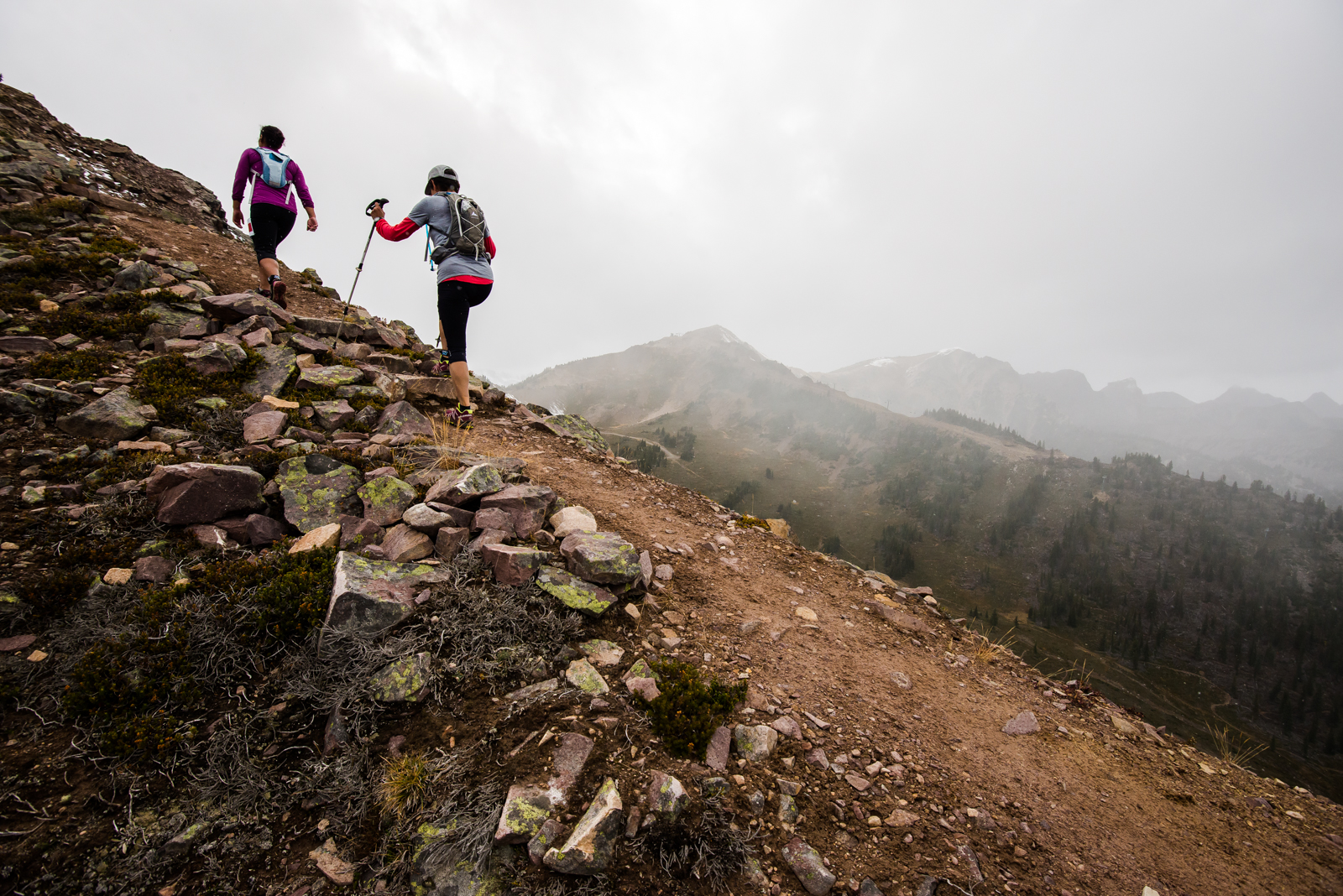 Runners persevere through the upper reaches of the Vertical KM in 2015.