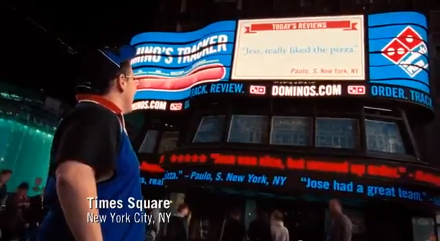 We put unfiltered Domino's pizza reviews up in Times Square
