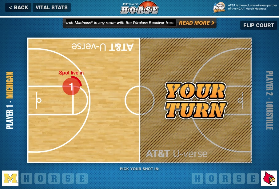 The player at home selected a spot on the court