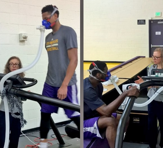 dr. cate shanahan guiding laker players through her fat burn efficiency test