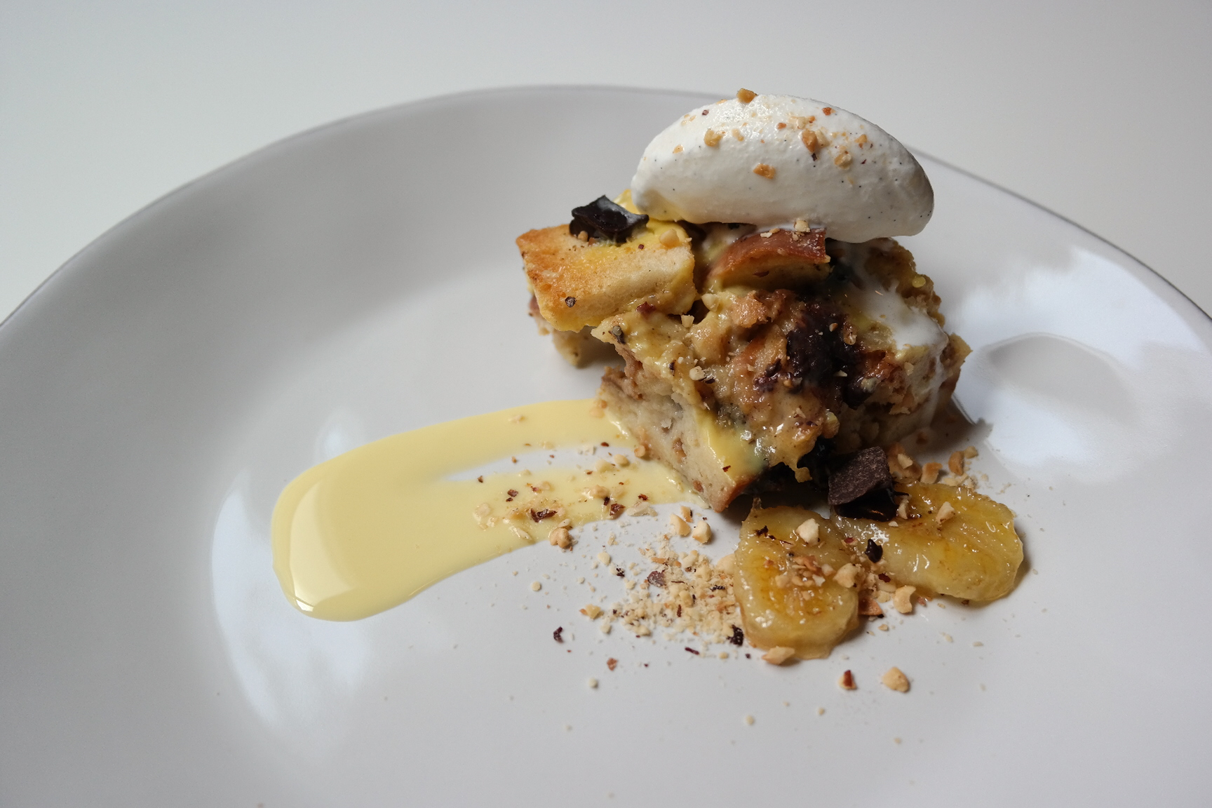 dark chocolate bread pudding with rum vanilla crème anglaise