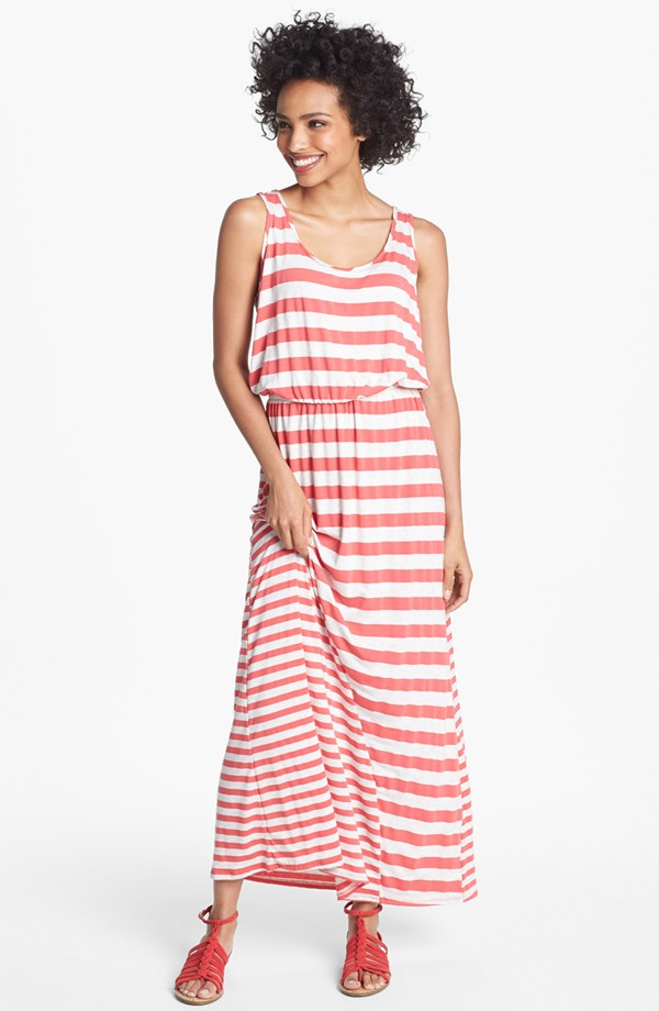 Multi Stripe Maxi Dress Red.jpg