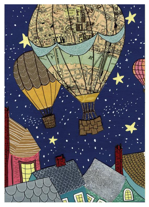 Laura Warecki,   Hot Air Balloon Night Sky