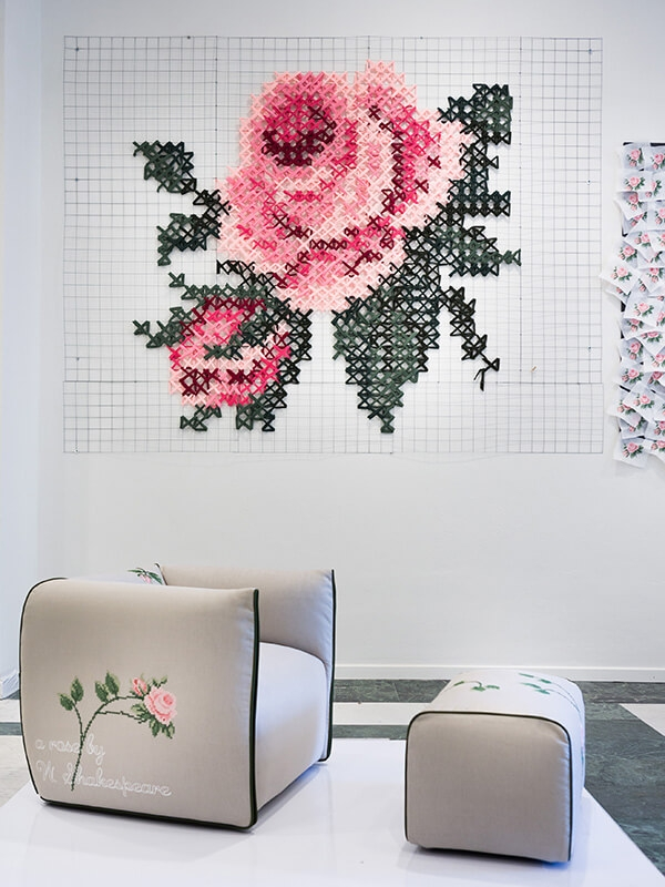 "Last year, Mia armchair was the lead design piece of the ""Rosae, rosarum, rosis"" installation curated by architect Paola Silvia Coronel, at The Triennale di Milano."