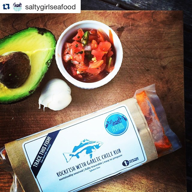 Reposting this gem from @saltygirlseafood. This is in our freezer so hurry in before it disappears! ・・・ #crowdpleaser. Our #Rockfish with Garlic Chili Rub makes a fish taco dream team. #sustainableseafood #fishtacos #howdoyouseafood #saltygirlseafood #foodie #santabarbara