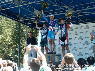 The 2009 National Time Trial Championship podium. The top clean rider is standing on the left wearing the Bronze Medal