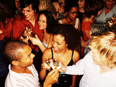 Drinking a glass of water in between alcoholic drinks can help keep you from drinking too much at holiday parties
