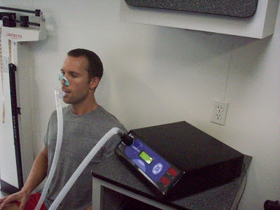An RMR test is very simple: sit down and breath through a tube for 10-15 minutes
