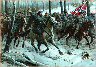 Nathan Bedford Forrest leads a Calvary charge to smash through enemy lines at their weakest point