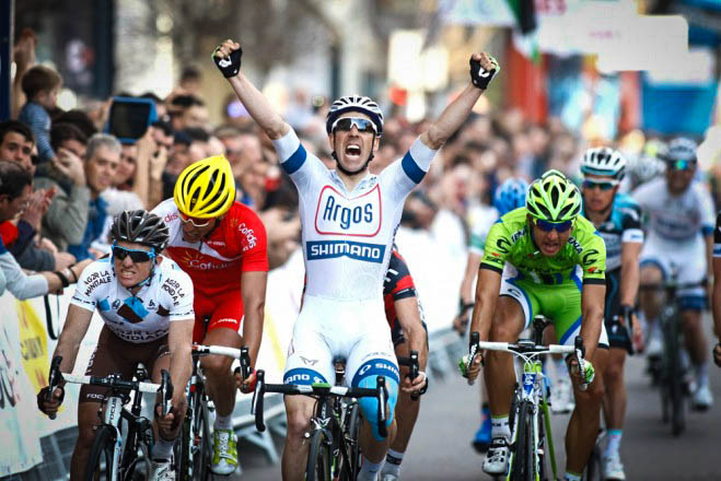 Francois Parisien wins Stage 5 of 2013 Volta a Catalunya: Photo courtesy of Velonews
