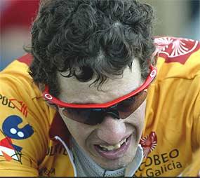 Izidro Nozal looking a bit crusty, but in the leader's jerseyat the 2003 Vuelta a España.